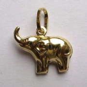 9ct Gold Lightweight Elephant pendant 0.7g